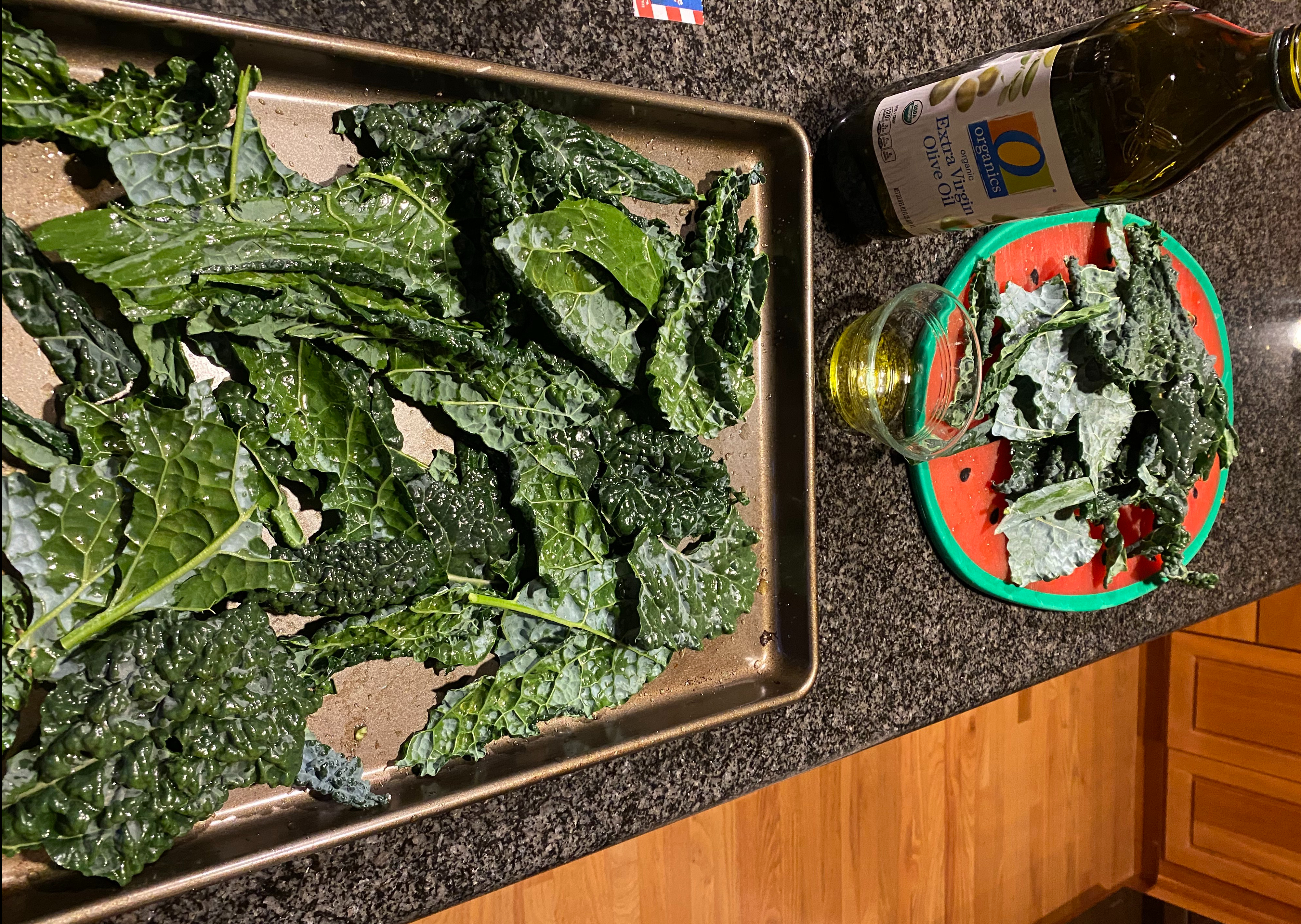 Kale chips fresh out of the oven.