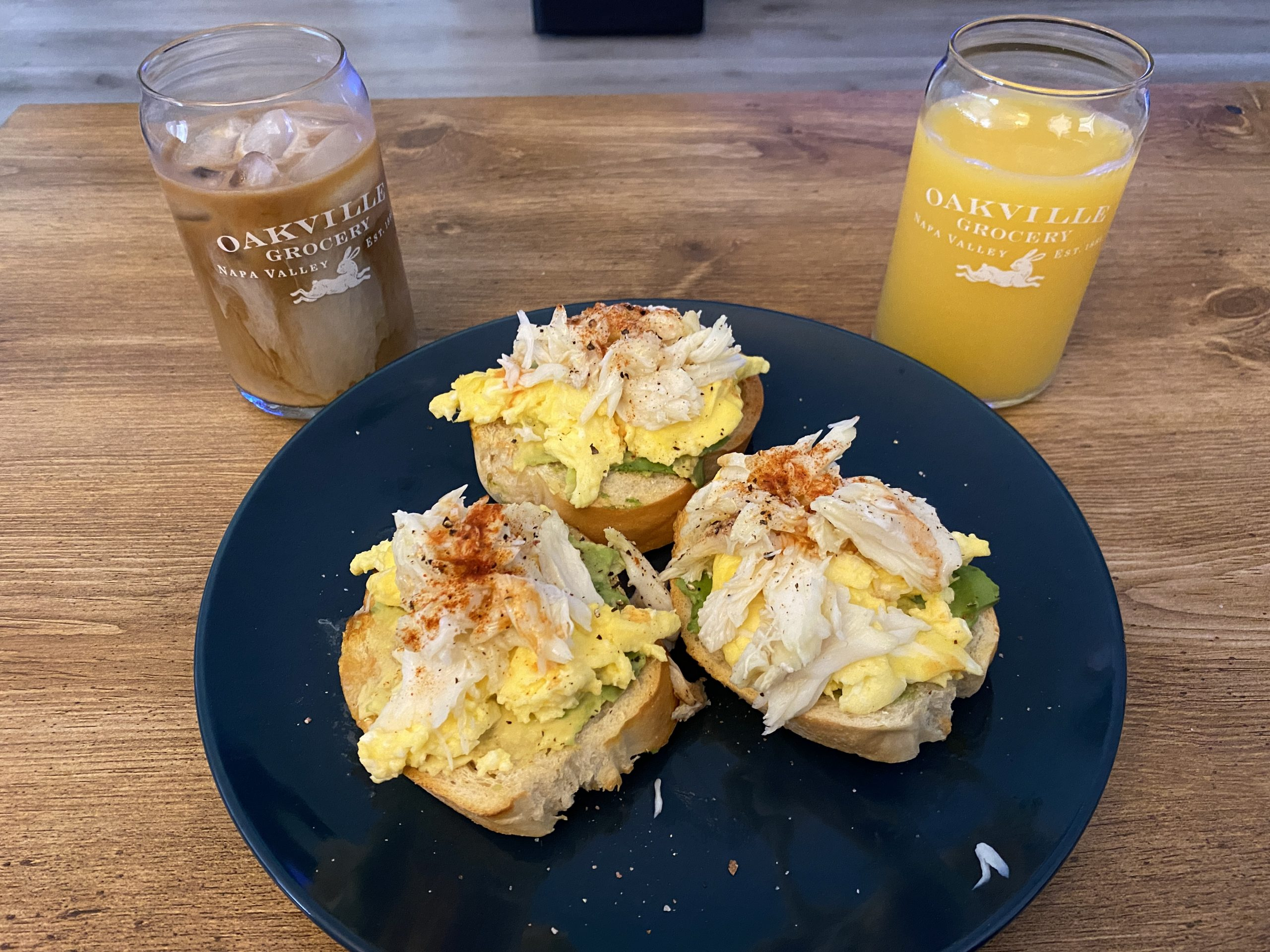 Crab & Egg Toasts with iced coffee and orange juice