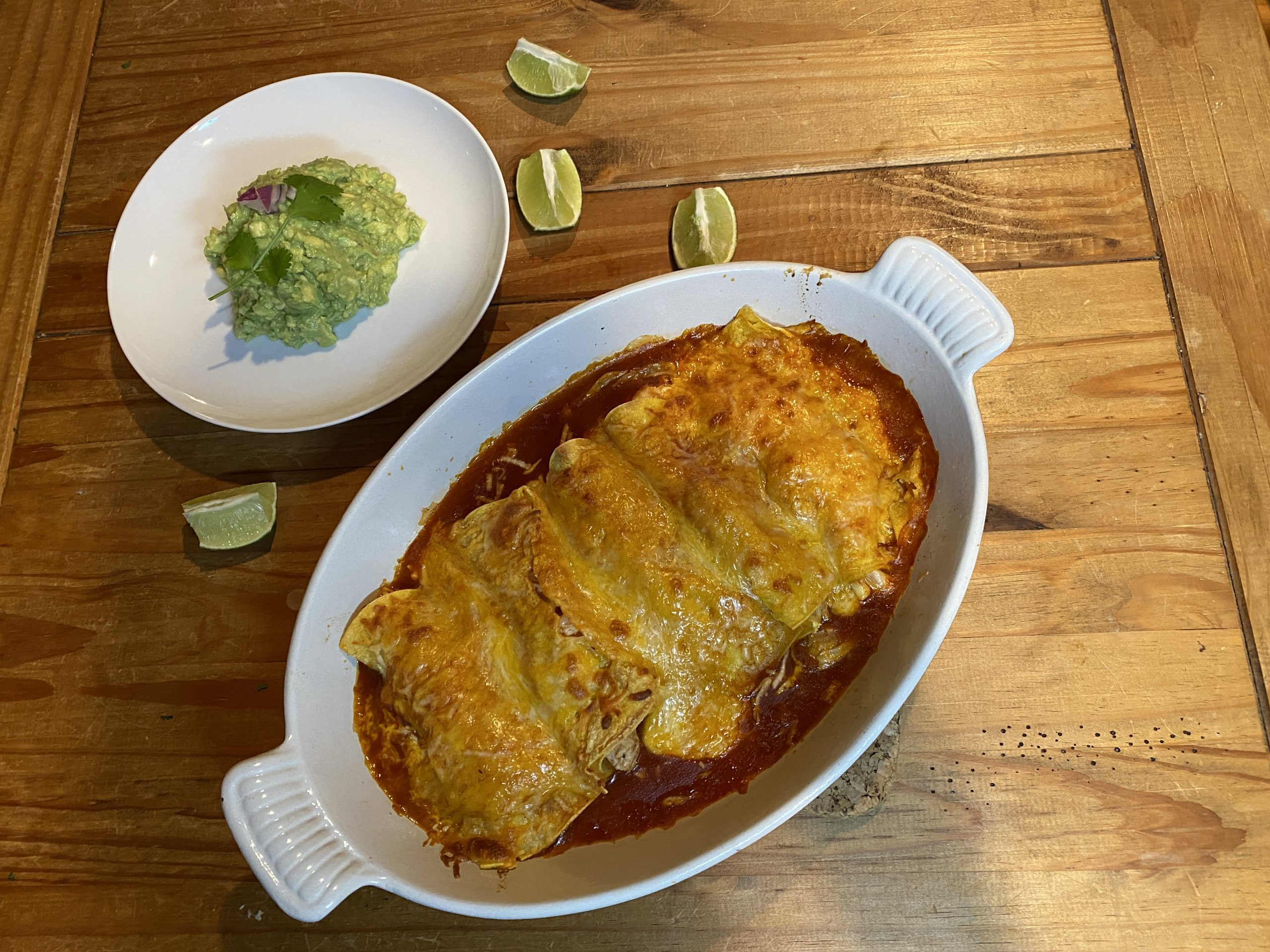 Authentic chicken and cheese enchilada recipe with guac