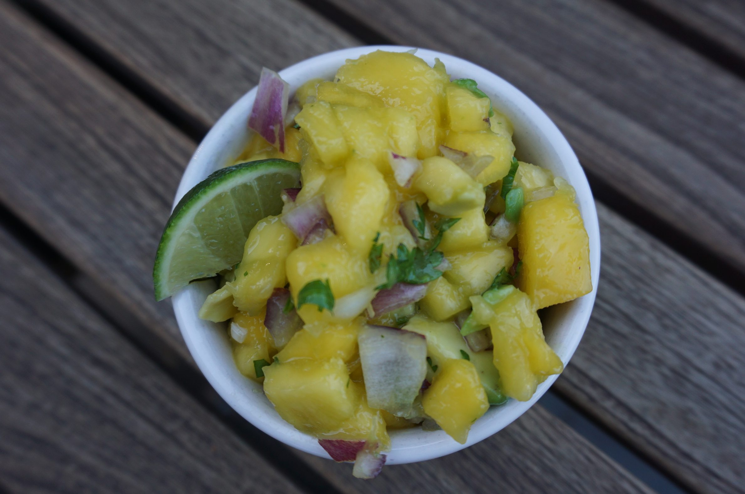 These 5-ingredient mango salsa adds freshness to any dish.