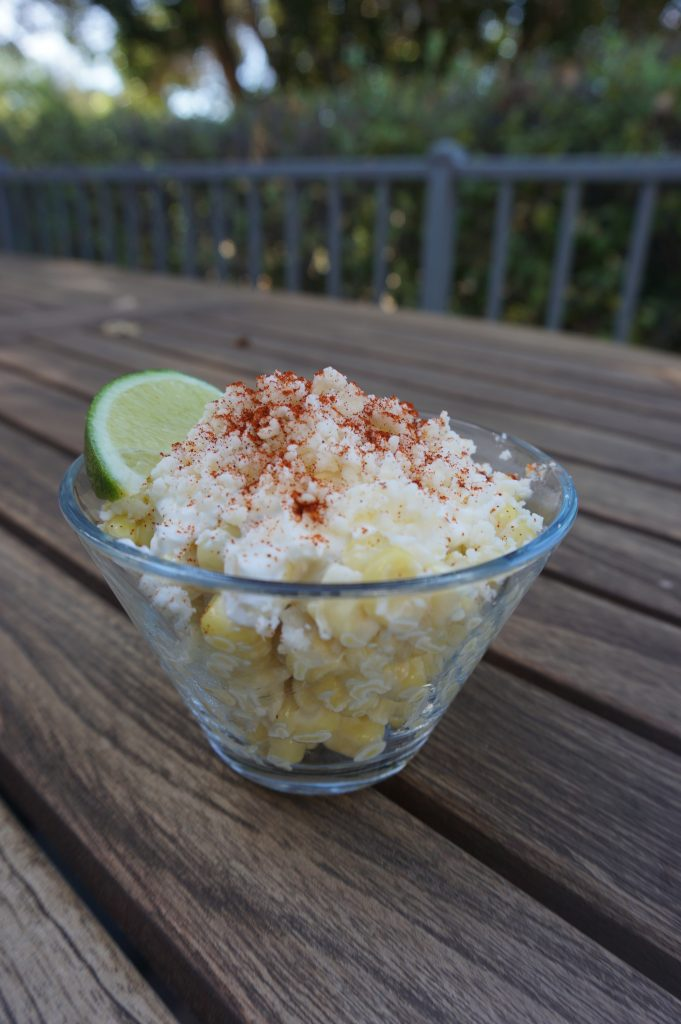 Elote in a cup is also called esquites. It's a traditional Mexican street food.