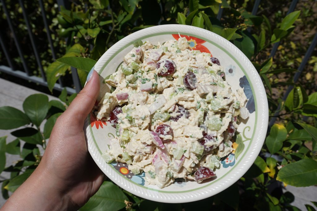 Making chicken salad with rotisserie chicken is a great way to use up leftovers.