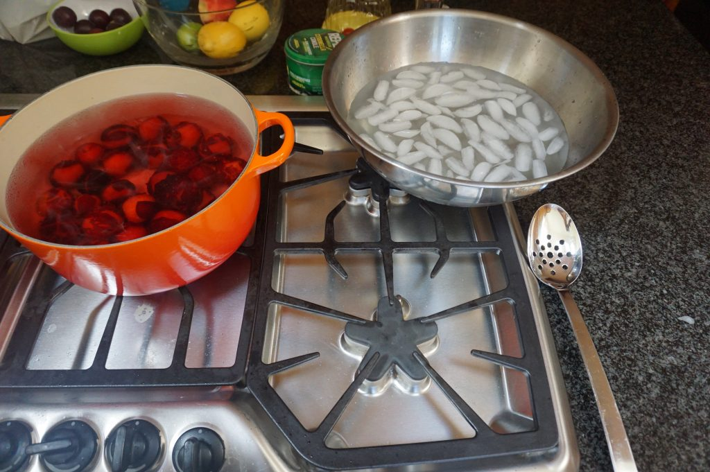 plum jam is made by poaching plums first.