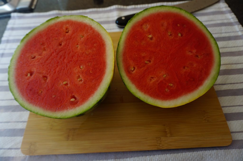 When you are learning how to cut a watermelon, the first cut in very important.