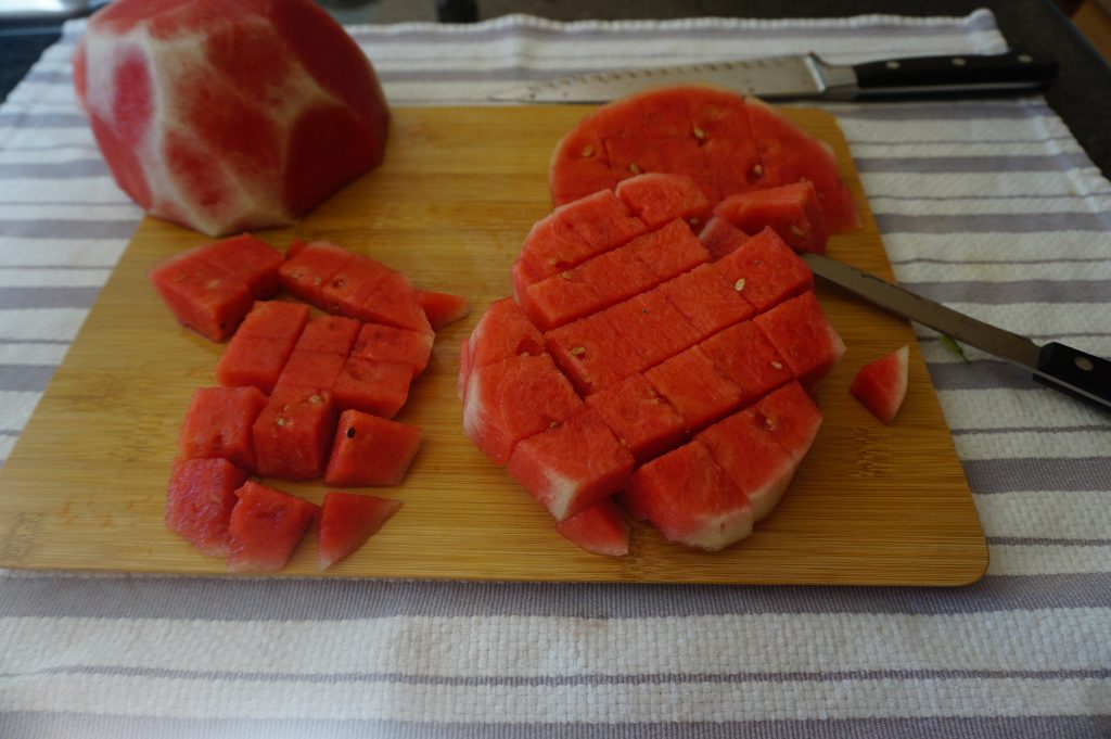 Slice your watermelon into cubes.