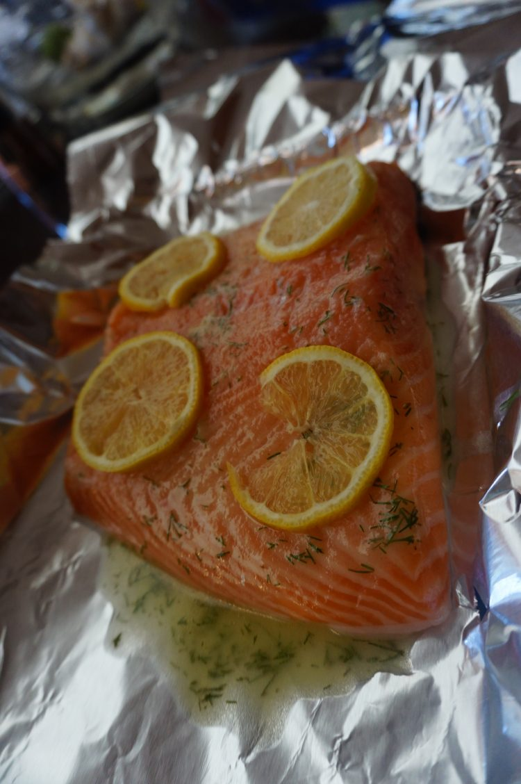 This lemon dill salmon foil bake is easy to make and pop in the oven.