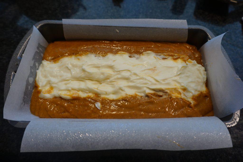 Use a 9x5 pan when making pumpkin bread with cream cheese