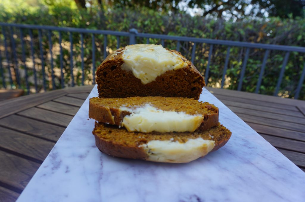 Pumpkin bread with cream cheese is a family favorite!