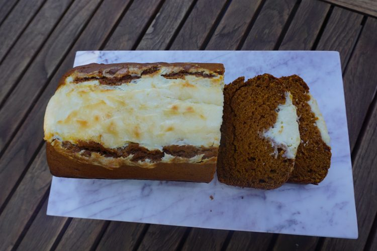 Pumpkin bread with cream cheese filling is one of the best treats to come home to!