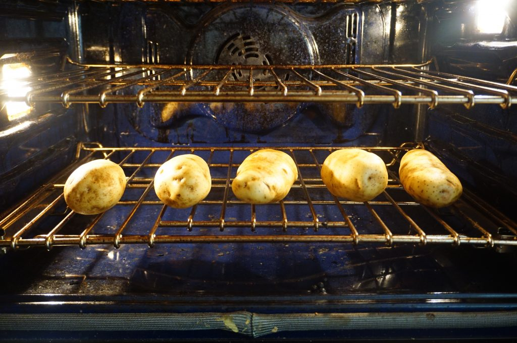 Put the baked potato directly in the oven when baking.