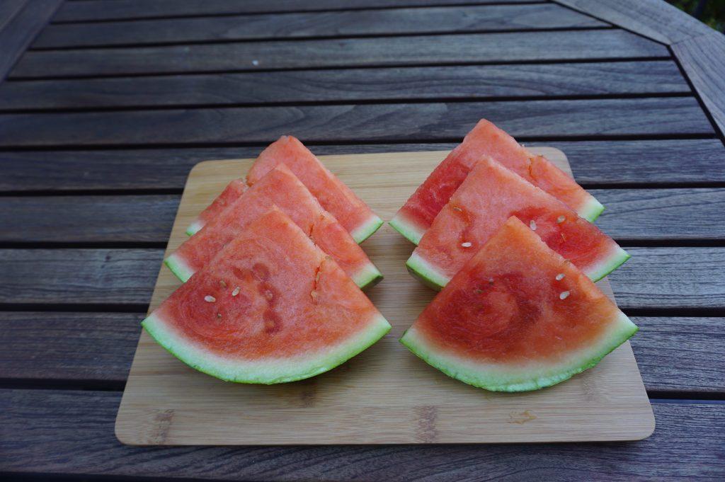 Watermelon cut into slices.