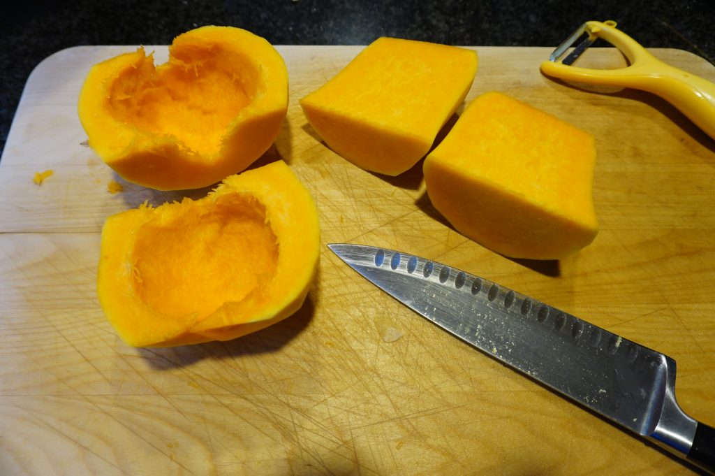 Clean the squash out with a spoon.