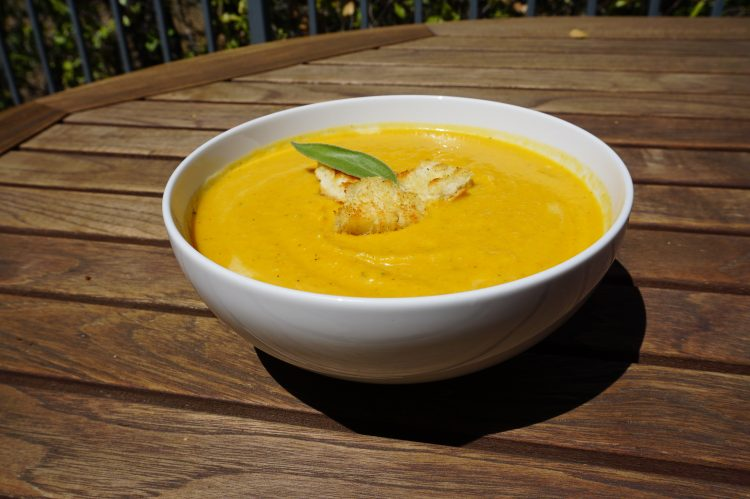Butternut squash soup is an easy and quick fall recipe.