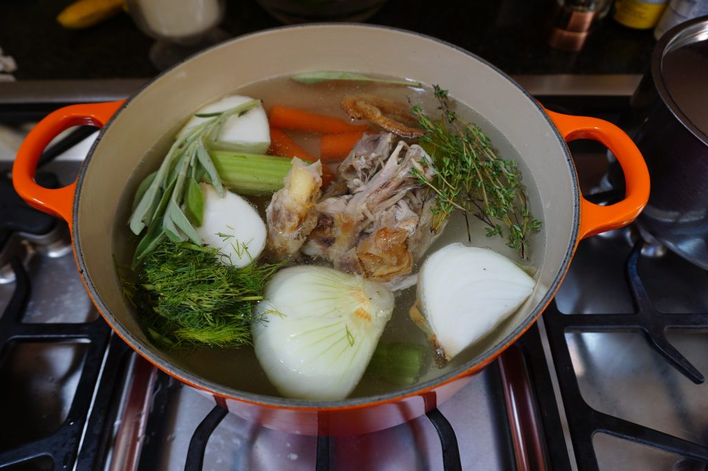 Add all ingredients to a large stockpot and let simmer for about 4 hours.