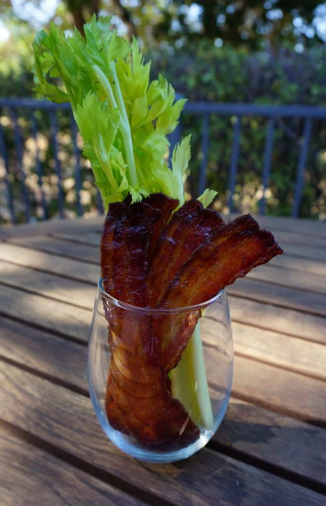 Candied bacon is easy to make and is the perfect bloody mary garnish