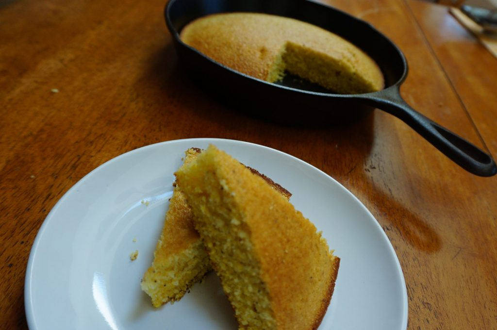 Southern cornbread can be served right out of the cast iron skillet!