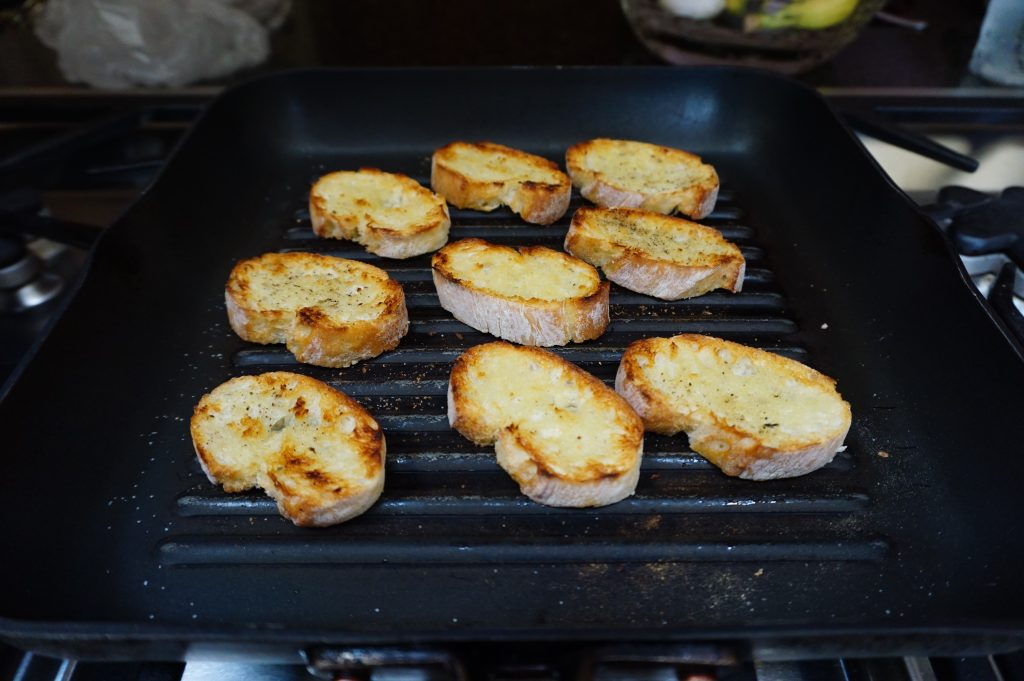 Making crostinis is easy on a stovetop grill pan.