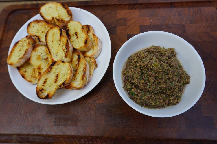Green olive tapenade is the perfect appetizer or side.