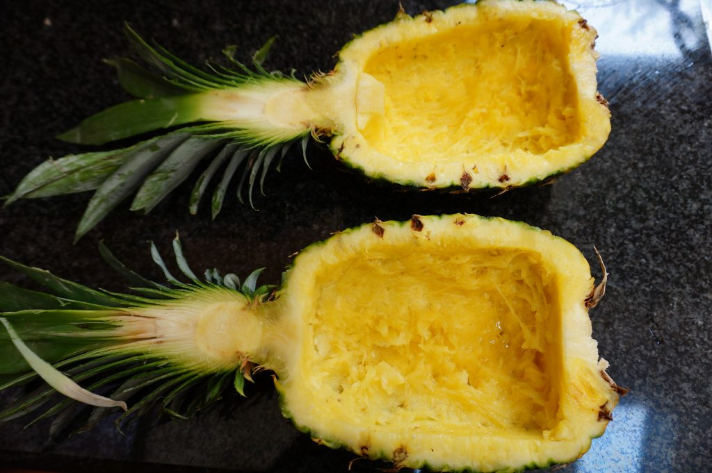 Pineapple bowls are ready for serving!