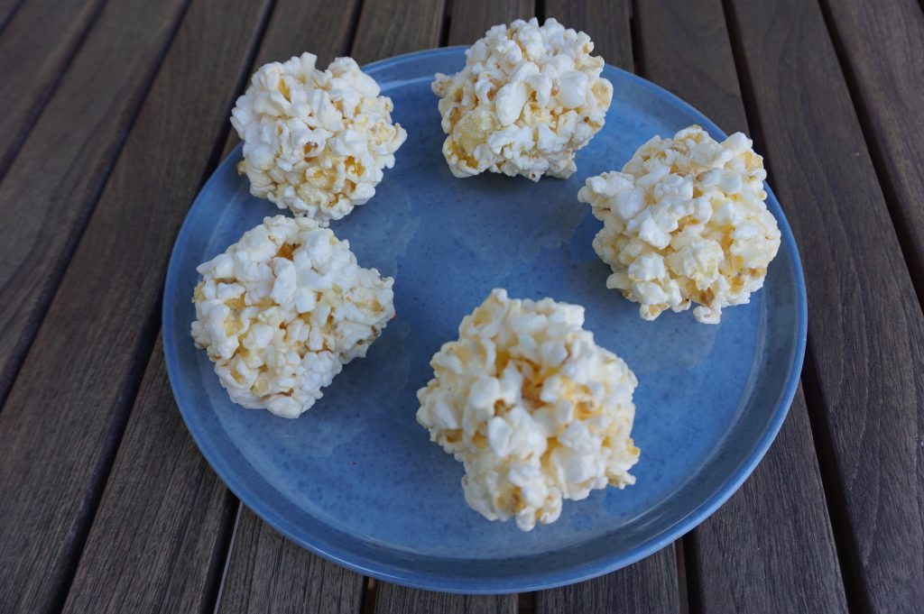 Plain popcorn balls are perfect for the holiday season.