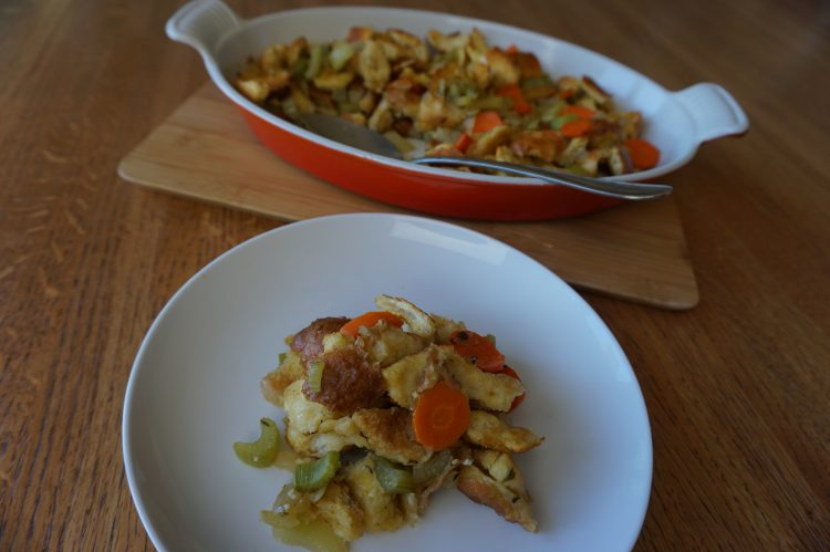 Sourdough stuffing casserole is a holiday favorite.